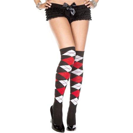 8cbf09a0995 Music Legs 4630-BLK-WHI-RED Argyle Acrylic Thigh High Stockings  44 ...
