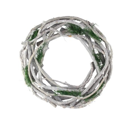"""Image of """"14"""""""" White Twig and Green Moss Artificial Spring Wreath"""""""
