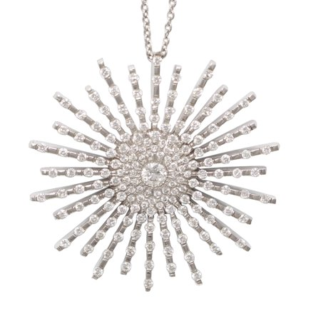 18k White Gold Round Diamond Large Multi-Stone Stone Prong Setting Starburst Necklace Pendant(1.5 Ct, G, VS)