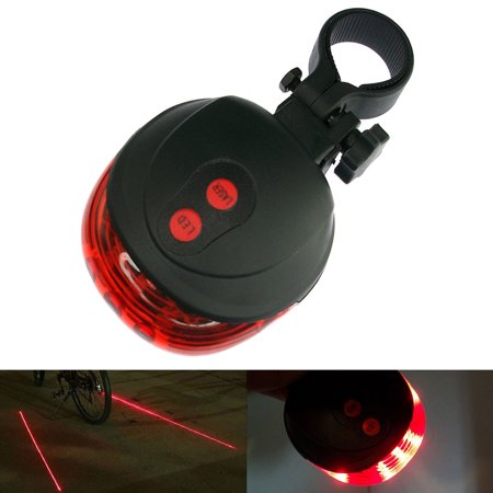 InnoLife Bike Lane Laser LED Cycling Mountain Road Bike Bicycle Taillight Safety Warning Flashing Lamp Alarm Light - 7 Mode 5 Red LEDs + 2 Red Laser