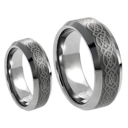 - Men & Ladies 8MM/6MM Tungsten Carbide Wedding Band Ring Set w/Laser Etched Celtic Design