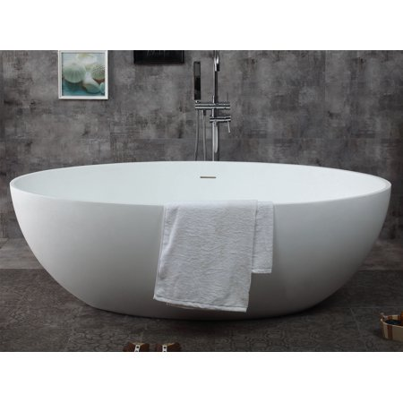 Alfi Brand Oval Solid Surface Smooth Resin 67'' x 39.4'' Freestanding Soaking