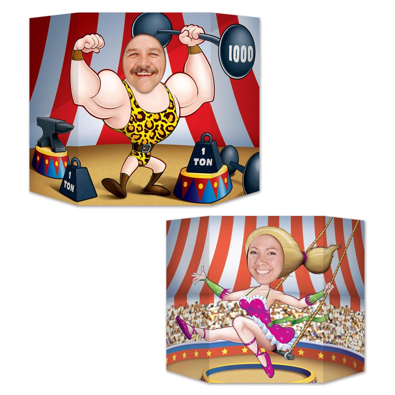 "Pack of 6 Double-Sided Circus Trapeze Artist and Body Builder Photo Prop Decorations 37"" x 25"""