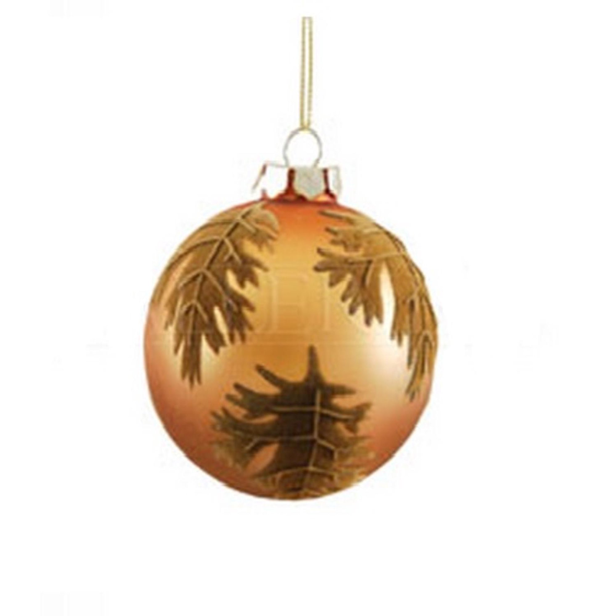 Decorative Orange And Brown Leaf Damask Glass Ball Christmas Ornament 3 25 80mm