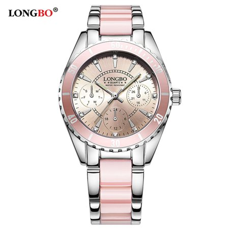 LONGBO Women Fashion Watch Ceramic And Alloy Band Analog Wristwatch Exquisite Waterproof Quartz Watches ()