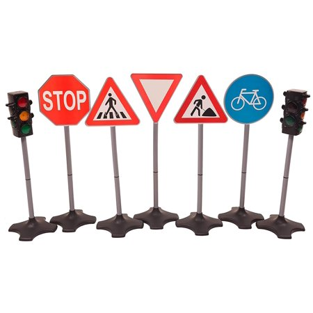 MMP Living Toy traffic light & road sign deluxe play set - 2 traffic signals with light and sound + 5 road signs, over 2 feet tall