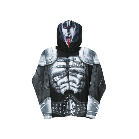 Faux Real Men's KISS Demon Mask Hoodie Hooded Sweatshirt Halloween Costume](Halloween Demon Costume)
