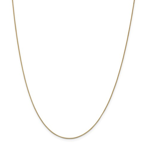 14k Yellow Gold 22in .70mm Square Box w/ Lobster Necklace Chain