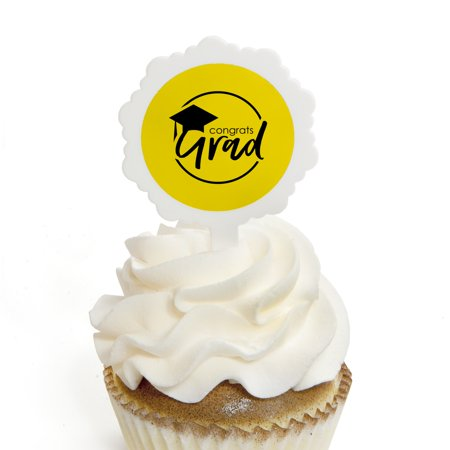 Yellow Grad - Best is Yet to Come - Cupcake Picks with Stickers -  Yellow Graduation Party Cupcake Toppers - 12 Count
