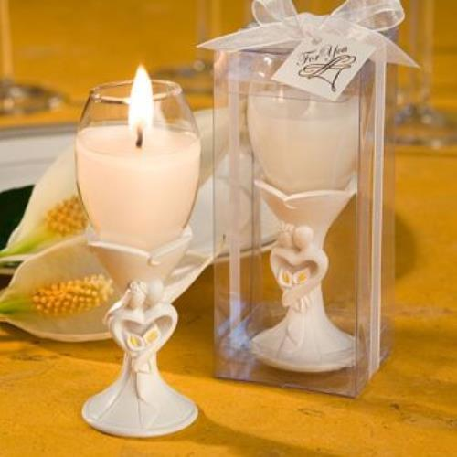 Stylish Bride And Groom Design Champagne Flute Candle Hol...