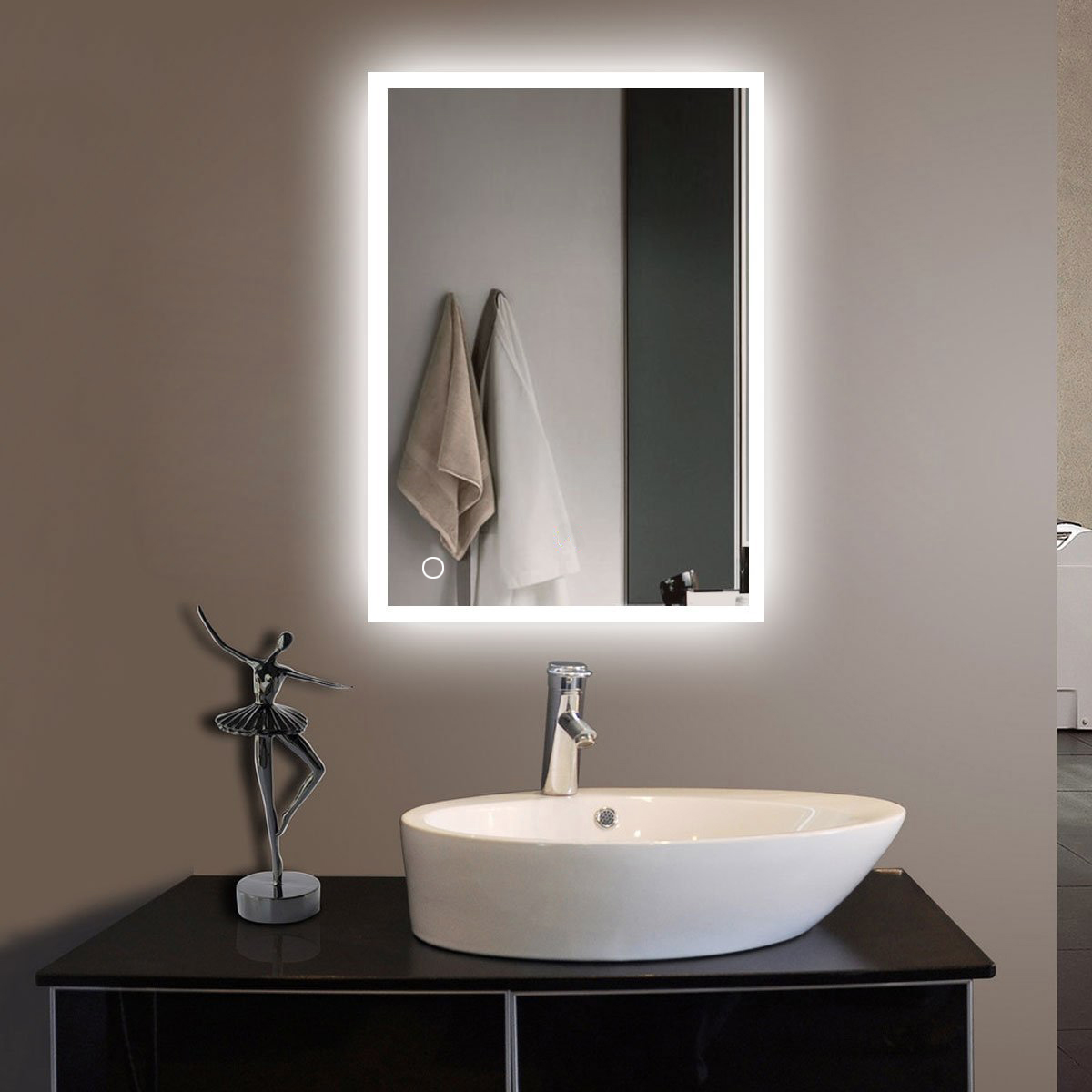 Ktaxon LED Lighted Rectangle Bathroom Mirror, Modern Wall Mirror with Lights,Wall Mounted Makeup Vanity Mirror by Interfave
