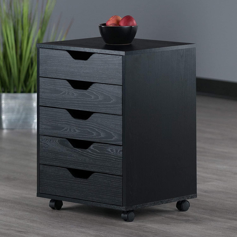Mobile Filing Cabinet, 5-Drawer Office File Storage Cabinet, Under