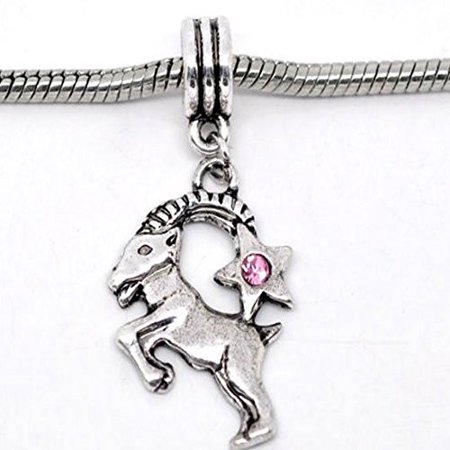 Capricorn Zodiac Charm W/pink Crystal Dangle Bead for Snake Bracelets