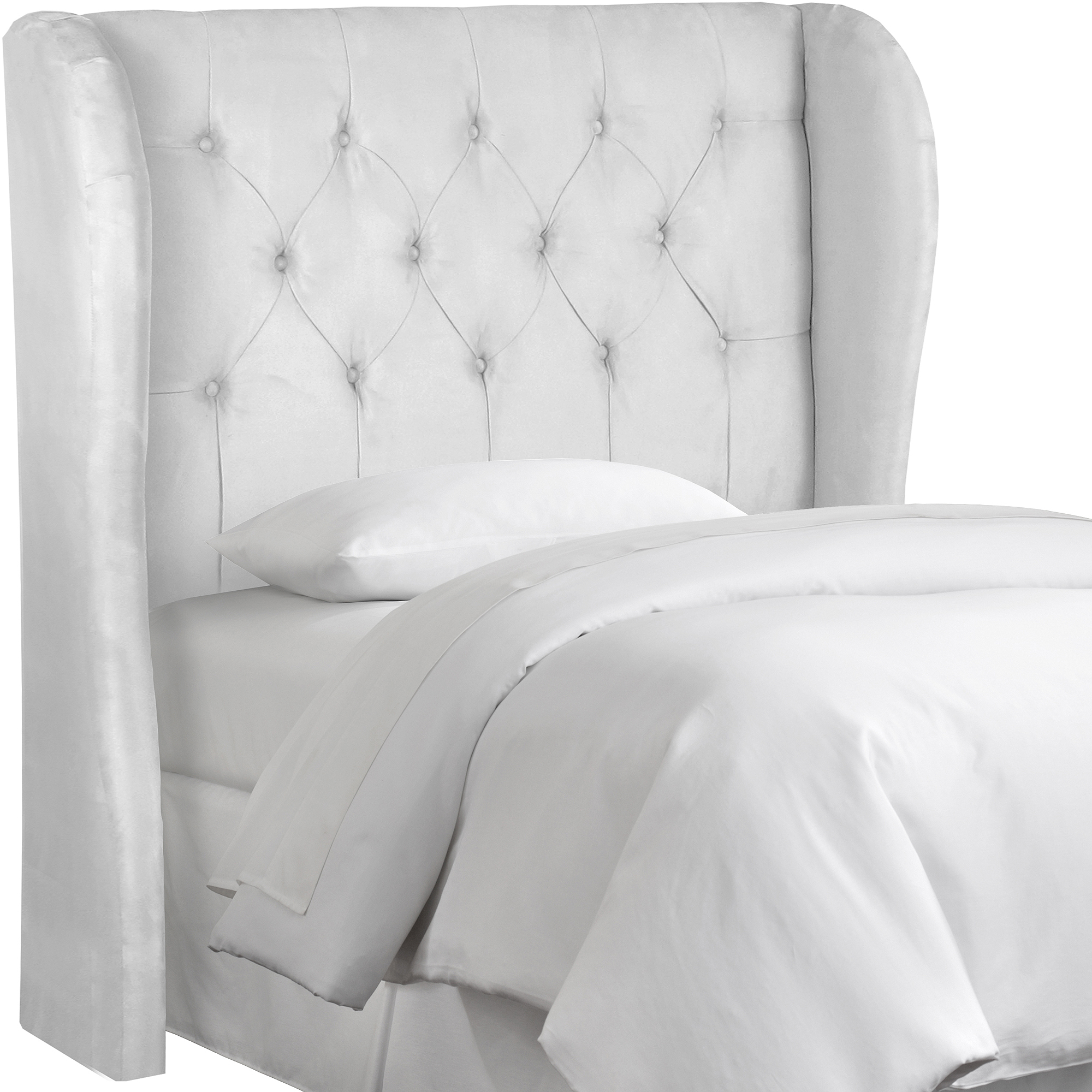skyline furniture premier white tufted wingback headboard  - skyline furniture premier white tufted wingback headboard  walmartcom