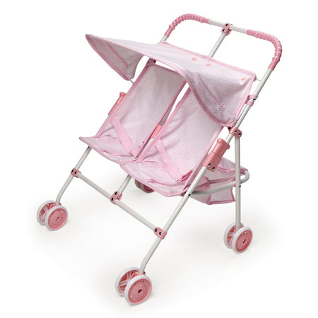 Badger Basket Folding Double Doll Umbrella Stroller - Pink/Gingham - Fits American Girl, My Life As & Most 18