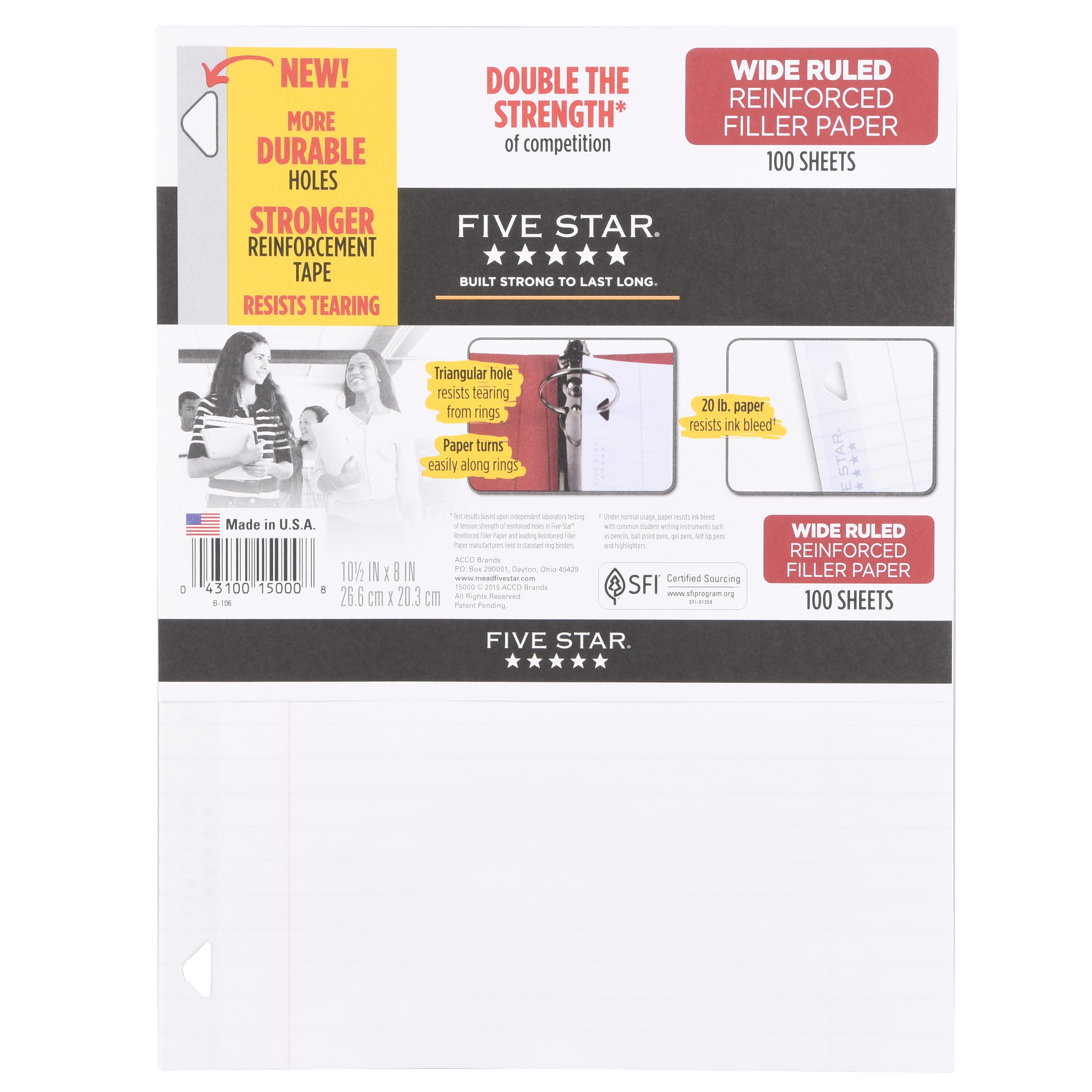 "Five Star Reinforced Filler Paper, Wide Ruled, 10 1/2"" x 8"", 100 Sheets/Pack (15049)"