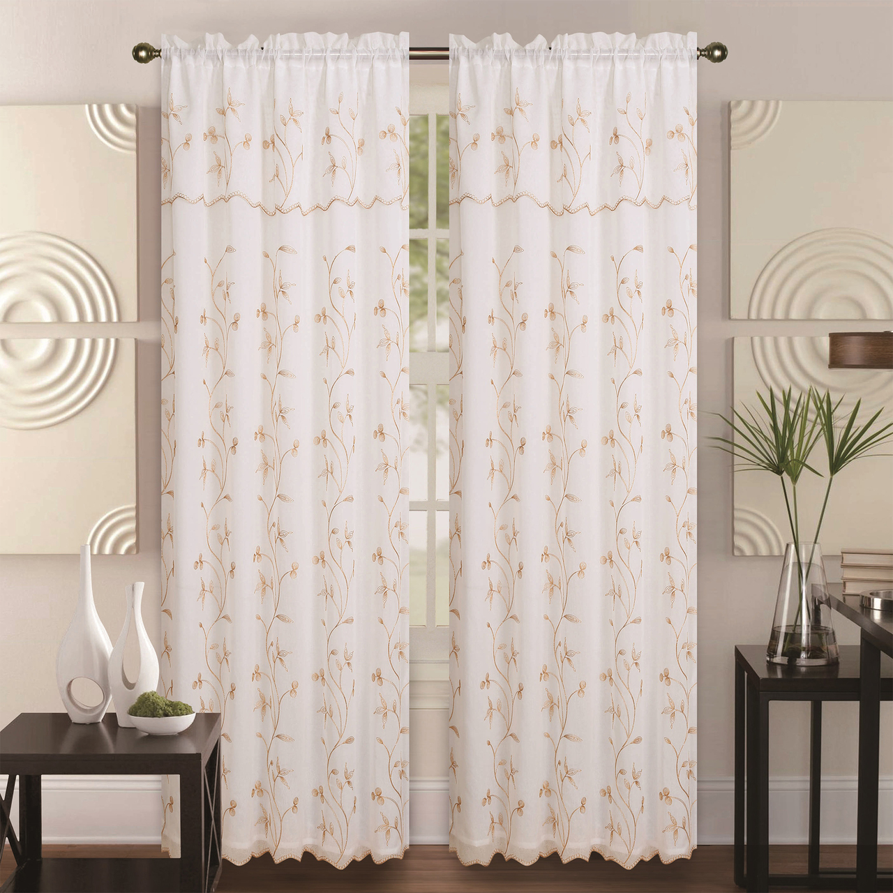 Double-Layer Embroidery Floral Vine Sheer Front Rod Pocket Decorative Curtain Panel 55x84 Inch with 18 Inch Valance, Alma Single Drape Panel (Beige/Gold)
