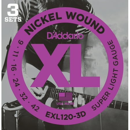 Pure Nickel Electric Strings - D'Addario EXL120-3D Nickel Wound Electric Guitar Strings, Super Light, 09-42, 3 Sets