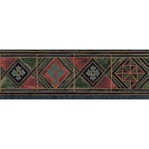 Blue Mountain Tile Wallpaper Border, Deep Blue, Red and Green
