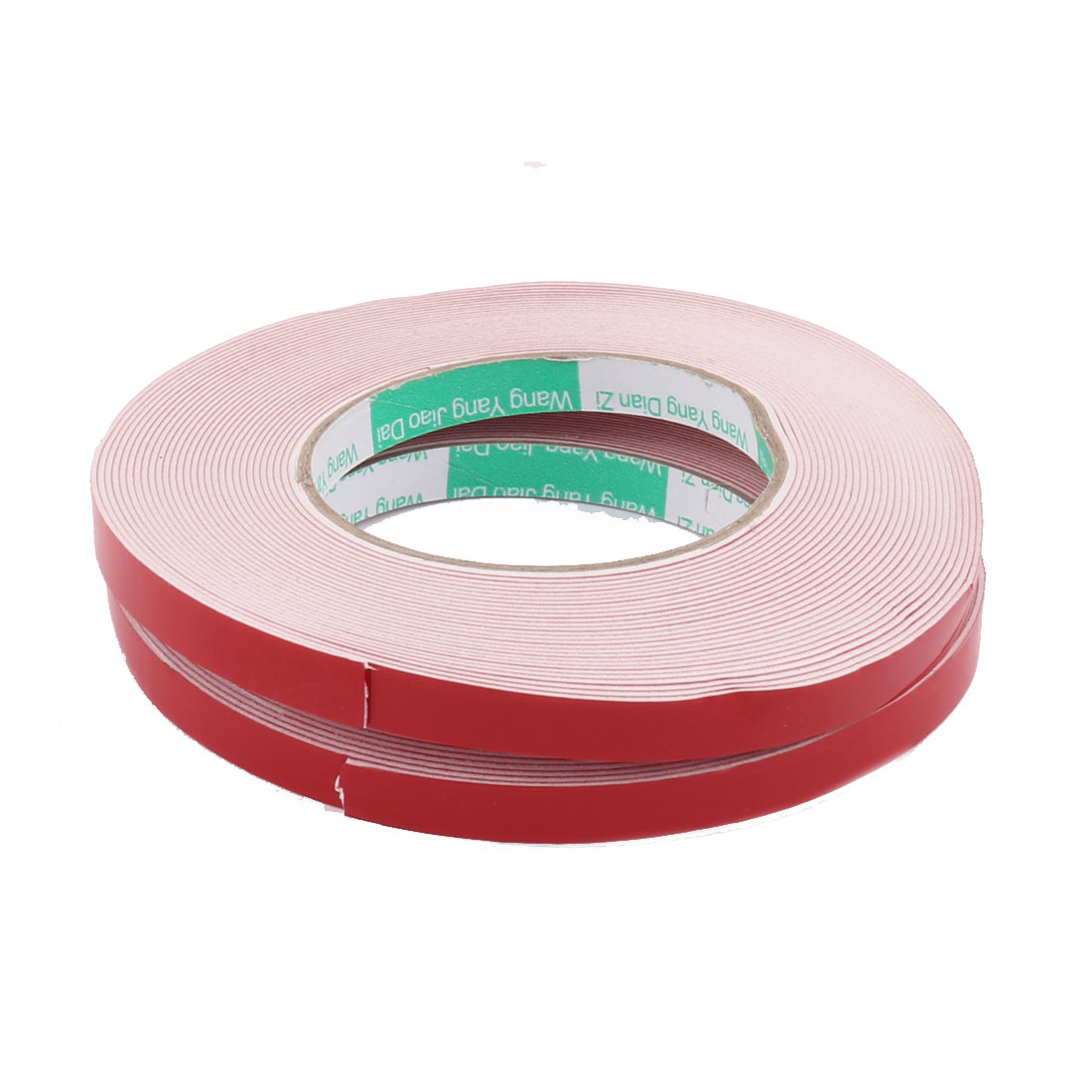 2pcs 10M Length 10MM x 1MM Red White Double Sided Waterproof Sponge Tape for Car