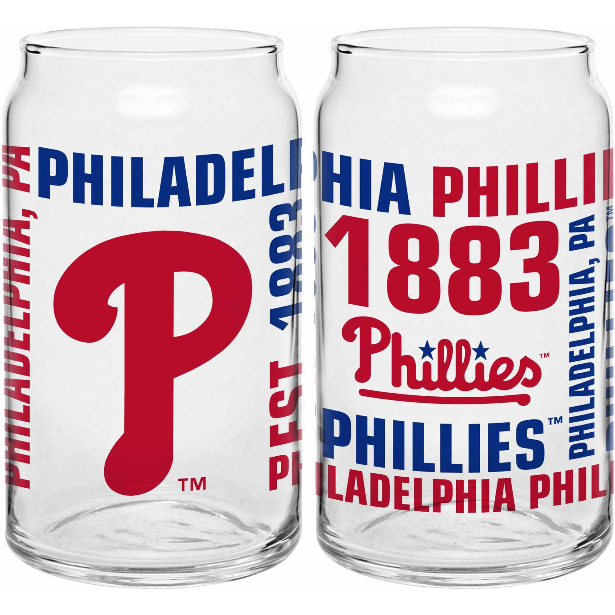 Boelter Brands MLB Set of Two 16 Ounce Spirit Glass Can Set, Philadelphia Phillies