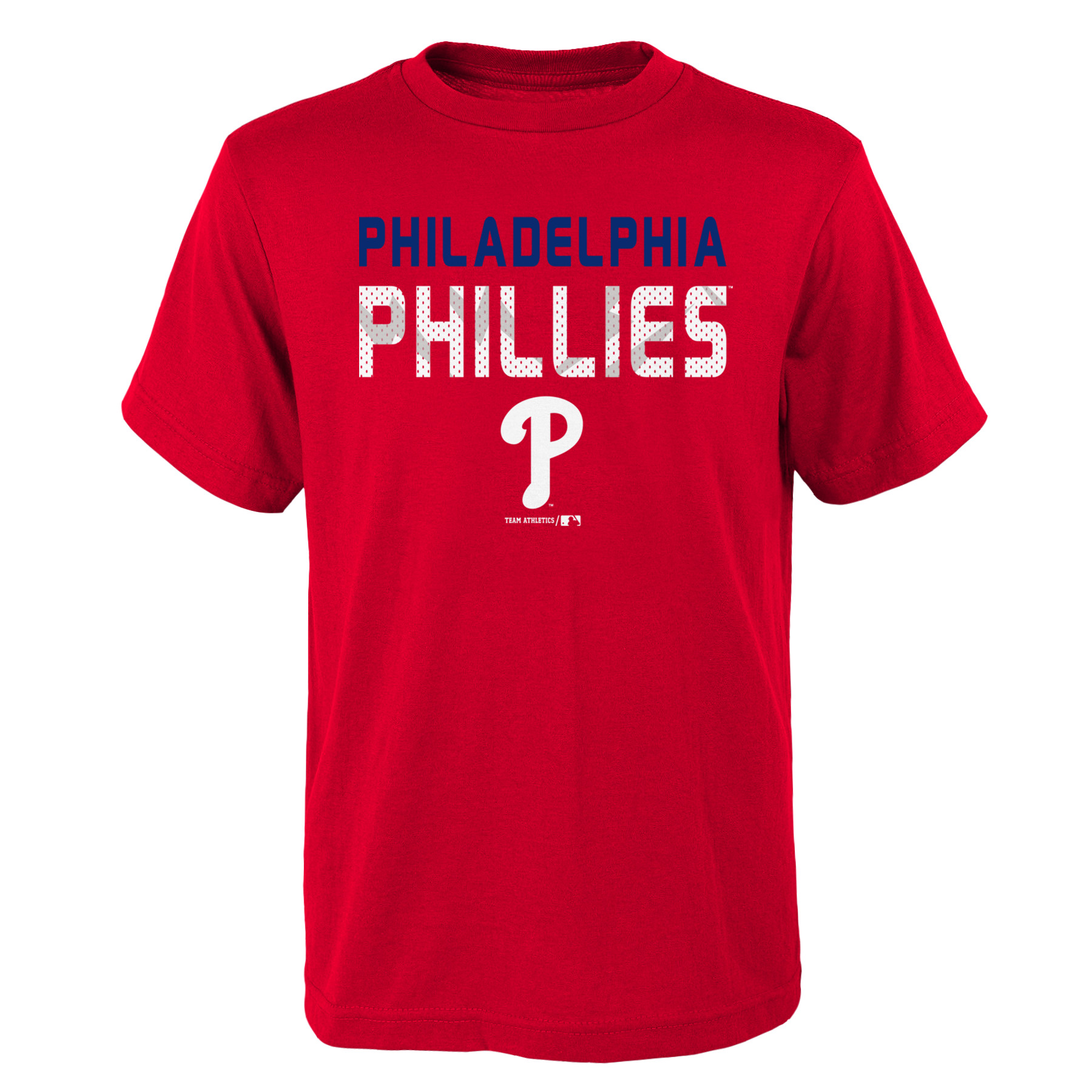 MLB Philadephia PHILLIES TEE Short Sleeve Boys Team Name and LOGO 100% Cotton Team Color 4-18