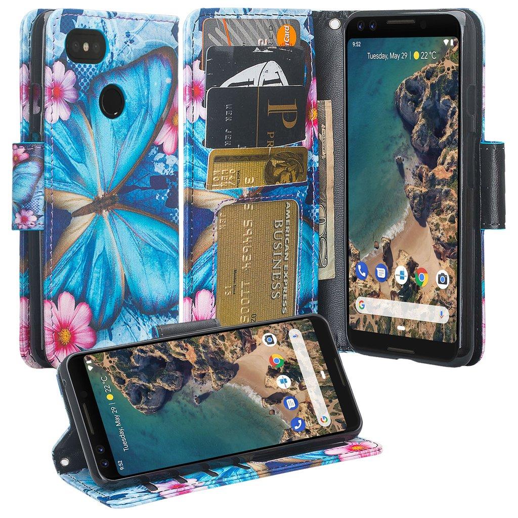 Pixel 3 Case, Pixel 3 Wallet Case, Google Pixel 3 PU Leather Case,Cash Credit Card Slots Holder Carrying Flip Cover & Kickstand - Blue Butterfly
