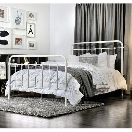 Furniture of America Celinda Twin Metal Spindle Bed in Vintage White ()