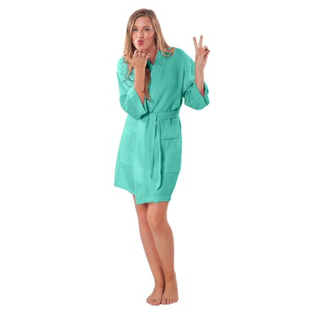 Pink Sateen Cotton Robe - Lightweight Knee Length Waffle Kimono Bridesmaids Spa Robe (Small/Medium, Aqua Green)