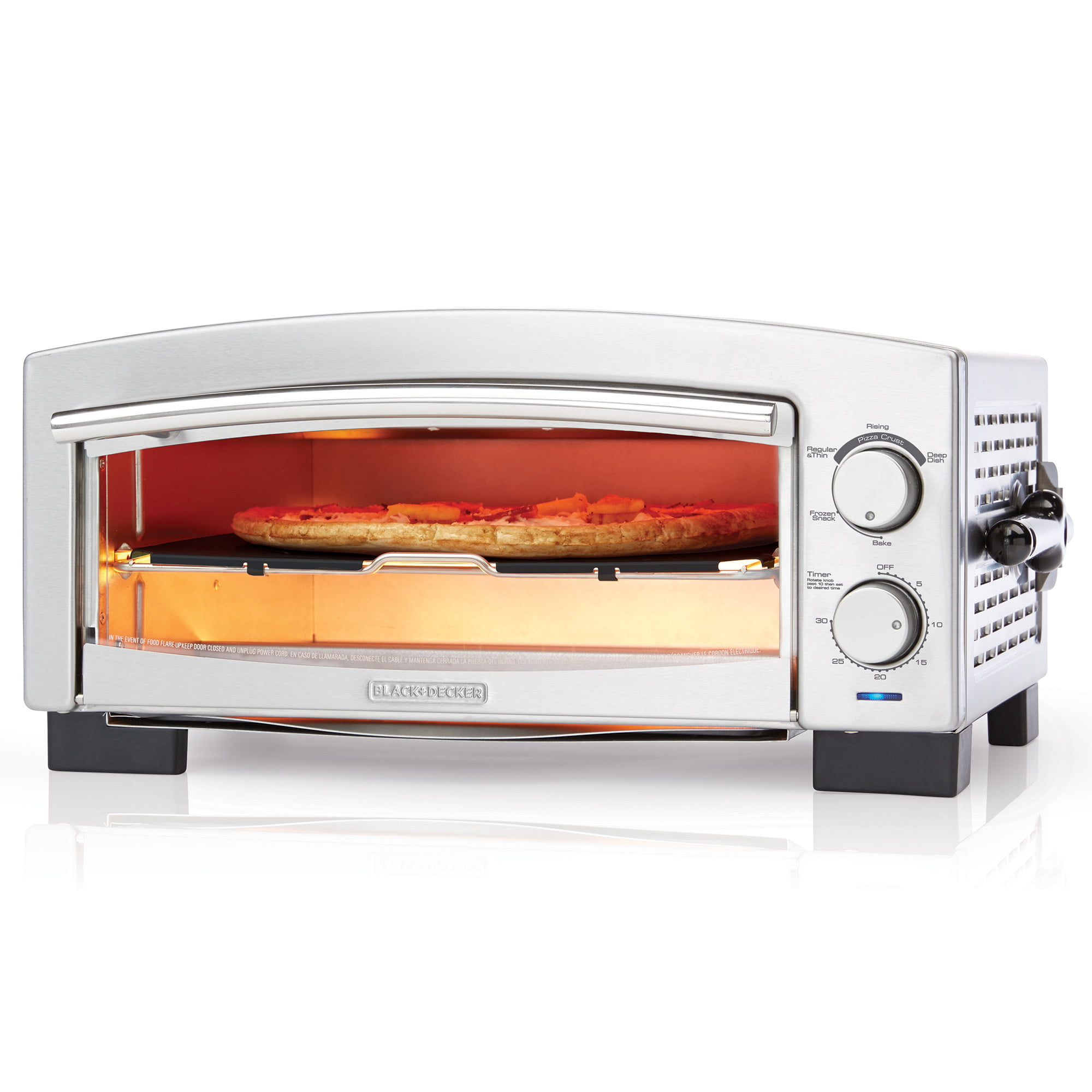 Black & Decker 5-Minute Pizza Oven and Snack Maker, Stainless Steel, P300S by BLACK DECKER
