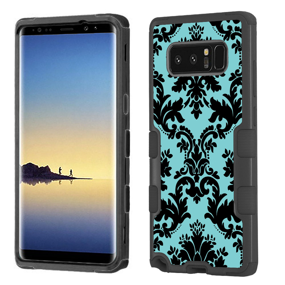 ShockProof case for Samsung Galaxy Note 8, OneToughShield ® Hybrid 3-Layer Protector Case (Black/Black) - Victorian Blue/Black