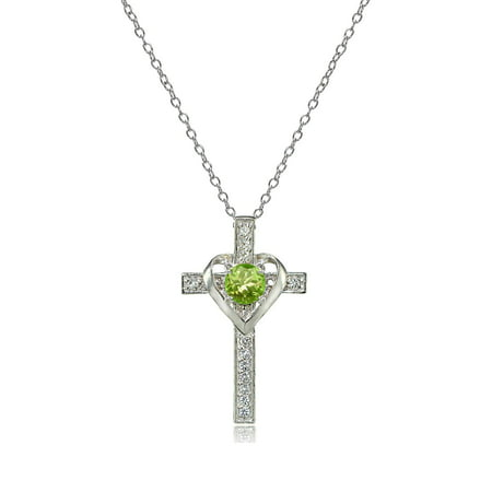 White Stingray Cross (Sterling Silver Peridot & White Topaz Heart in Cross Necklace )