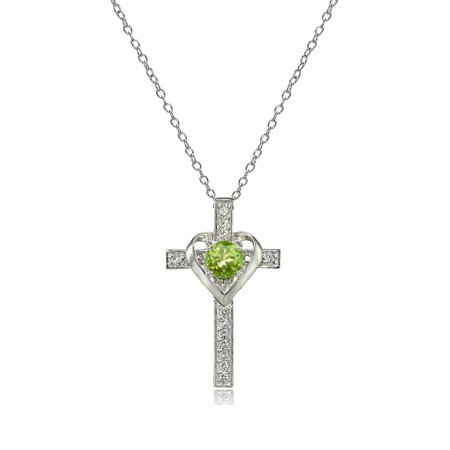 Sterling Silver Peridot & White Topaz Heart in Cross Necklace