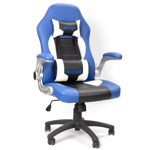 Walnew Gaming Chair High Back Computer Office Racing Style Color Contrast Design PU Leather Bucket Seat
