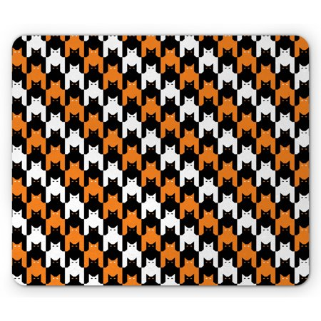 Halloween Styles Psd (Halloween Mouse Pad, Digital Style Catstooth Pattern Pixel Spooky Harvest Fashion Illustration, Rectangle Non-Slip Rubber Mousepad, Orange Black White, by)
