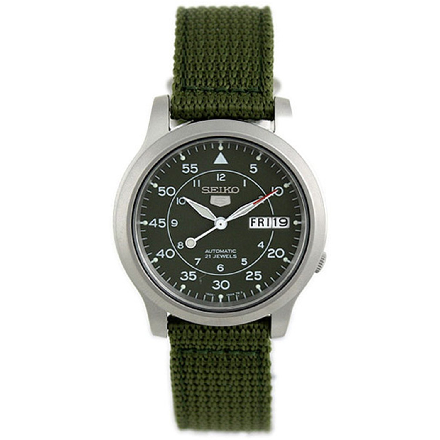 Seiko Men's 5 Automatic SNK805K2 Green Cloth Automatic Fashion Watch