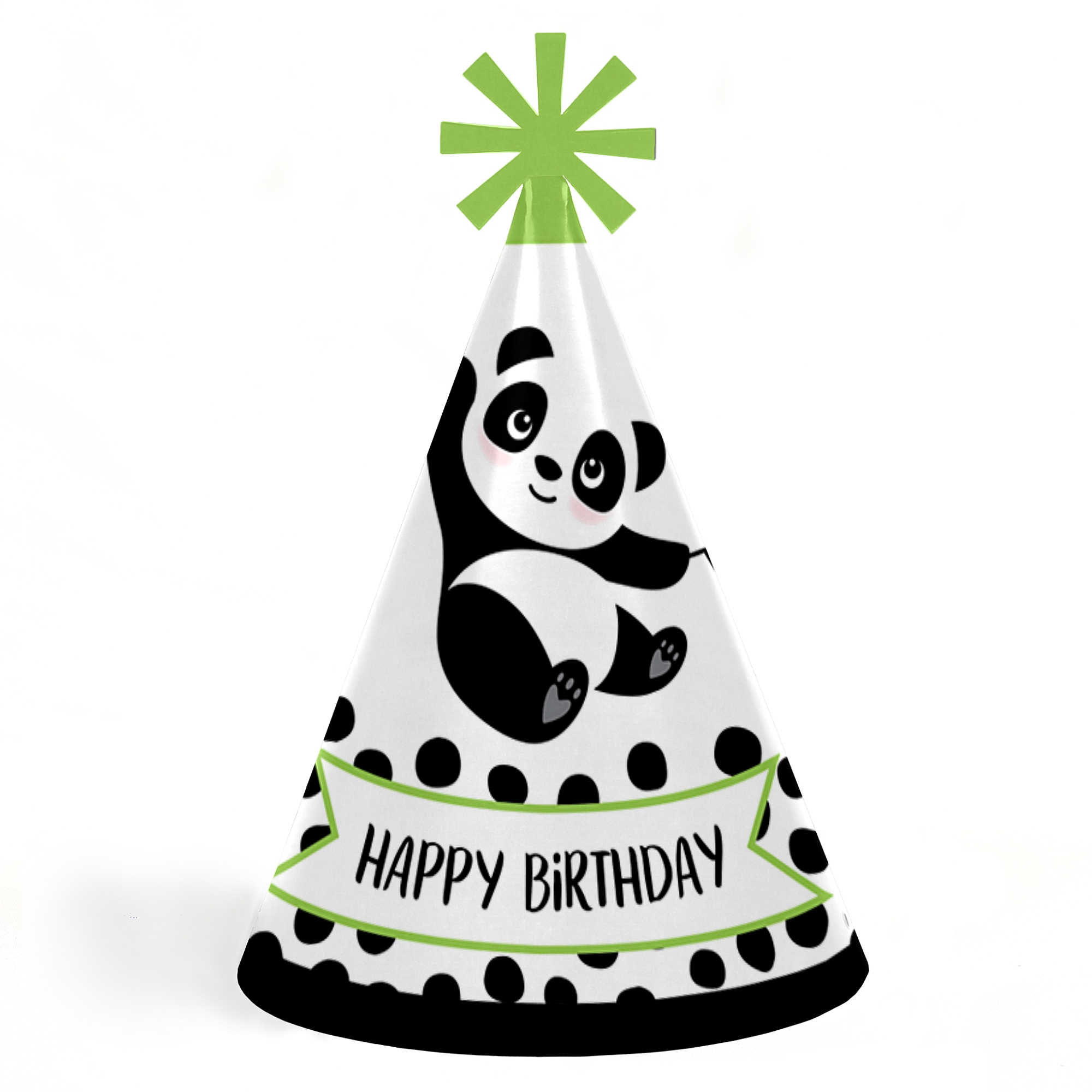 Party Like a Panda Bear - Cone Happy Birthday Party Hats for Kids and Adults - Set of 8 (Standard Size)