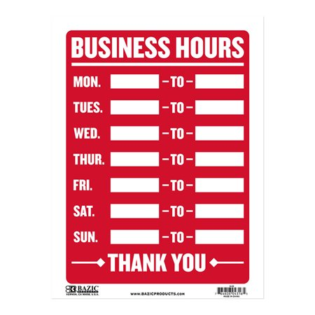 Bazic Products L-23-24 12 inch x 16 inch Business Hours Sign - Box of 24