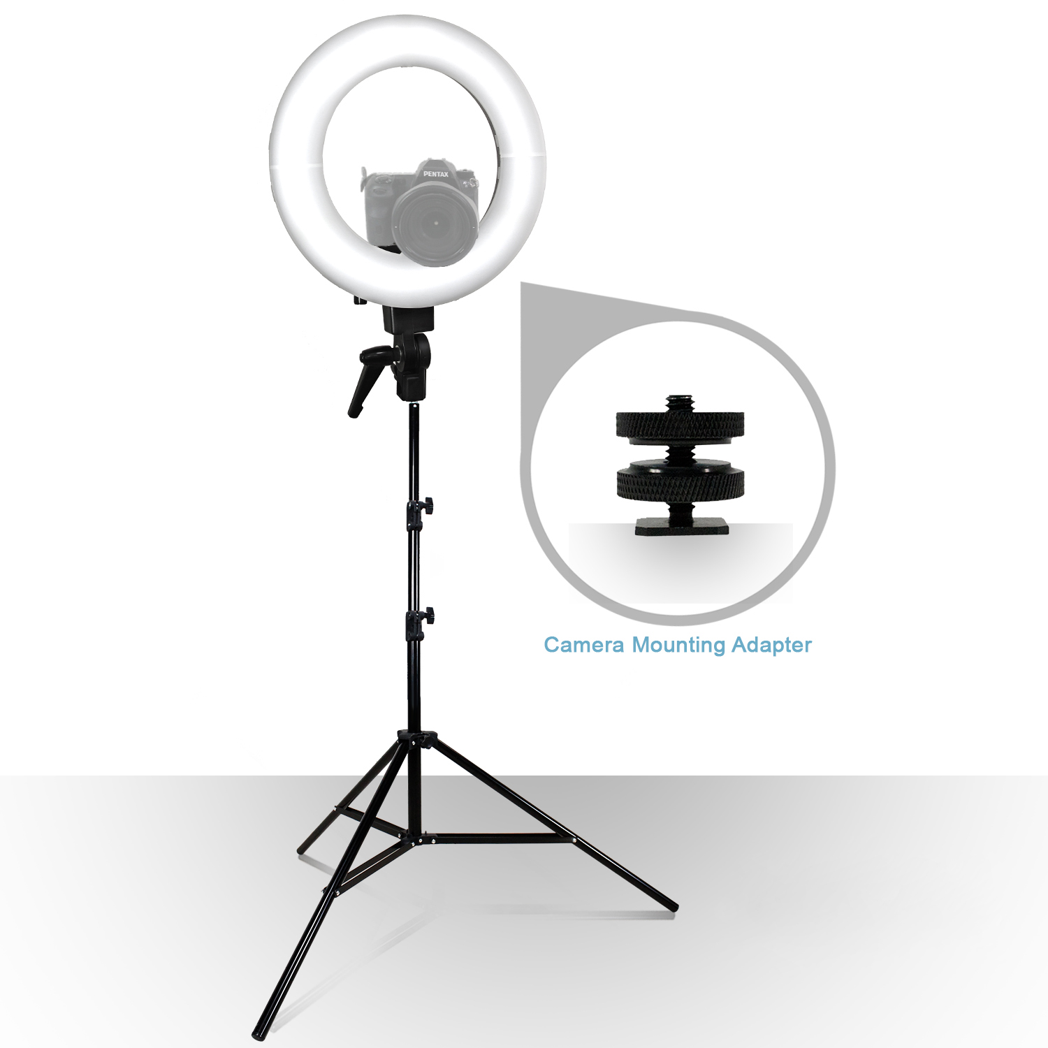 Loadstone Studio 12-inch LED Round Ring Light with Carry Bag and Light Stand Tripod, Dimmable Continuous Lighting Kit, Snap On White Diffuser Cover & Camera Mounting Bracket, WMLS2734