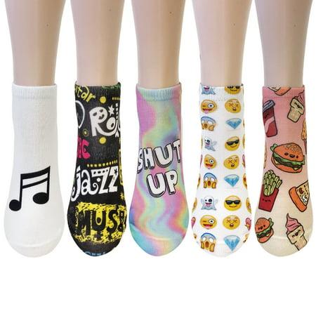 ALLYDREW 3D No Show Ankle Socks Crazy Novelty Sock Set (5 Pairs) - Emoji Novelty Ankle Socks for $<!---->