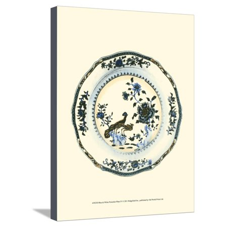 Blue and White Porcelain Plate IV Stretched Canvas Print Wall Art