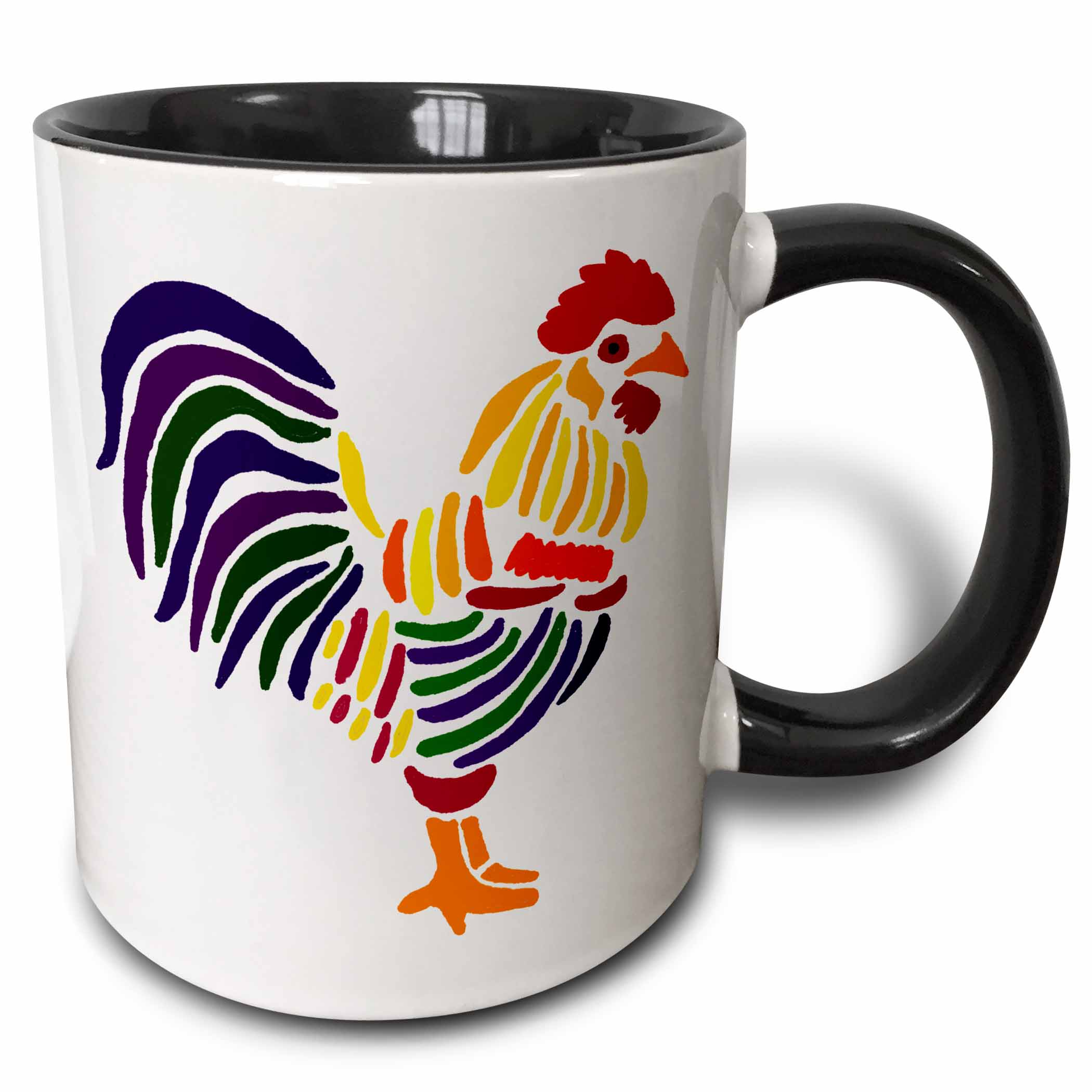 3dRose Artistic Colorful Fun Rooster Abstract Art Original - Two Tone Black Mug, 11-ounce