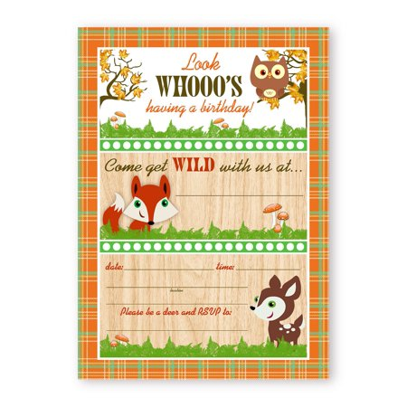 Woodland Critters Birthday Party LARGE Invitations - 10 Invitations 10 Envelopes