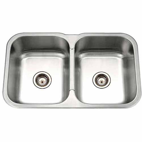 Houzer MGD-3120-1 Medallion Gourmet Series Undermount Stainless Steel Double Bowl Kitchen Sink