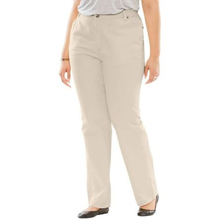 Woman Within Plus Size Side-elastic Straight Leg Cotton