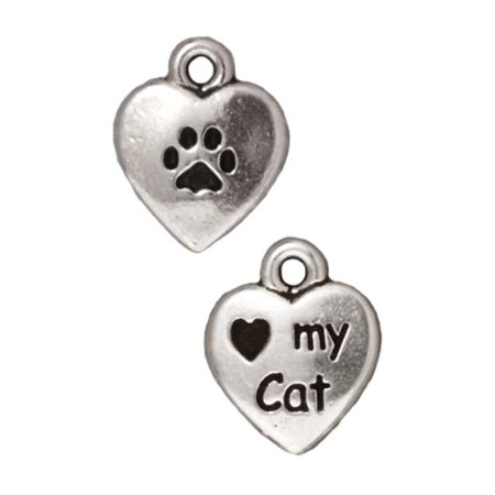 Fine Silver Plated Pewter Heart My Cat 2-Sided Charm 12mm (Cat Charm)