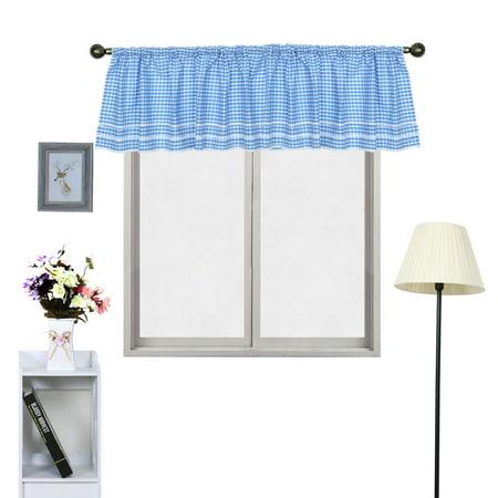 Polyester Plaid Pattern Short Curtain Window Valance Blue 60 Inch x 17.7 Inch - image 3 de 7