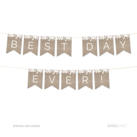 Just Married Burlap Lace Wedding Hanging Pennant Party Banner with String