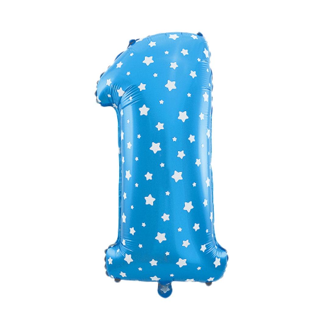 "Unique Bargains 16"" Blue Foil Number 1 Shape Balloon Helium Birthday Wedding Decor"