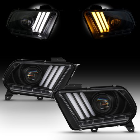For 2010-2014 Mustang Black LED Sequential Turn Signals DRL Projector